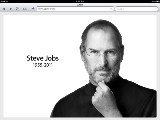 iPad Screen Grab of Apple.com/SteveJobs