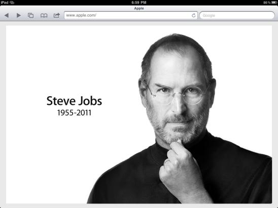 iPad Screen Grab of Apple.com/SteveJobs