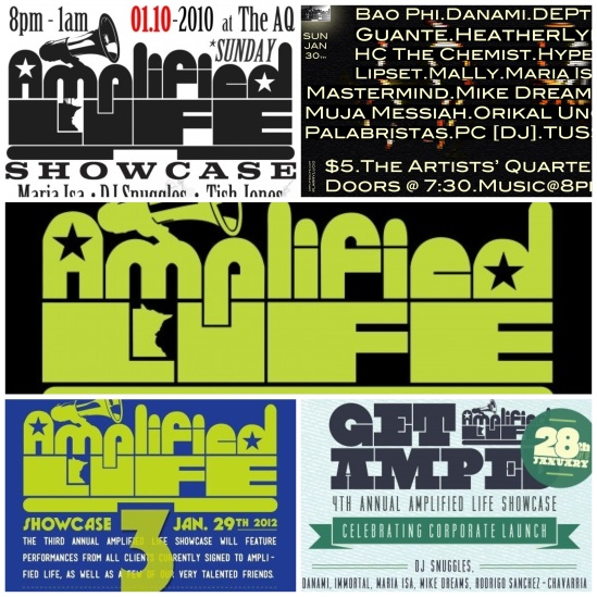 Flyer Collage: Amplified Life Showcase 2010 - 2013